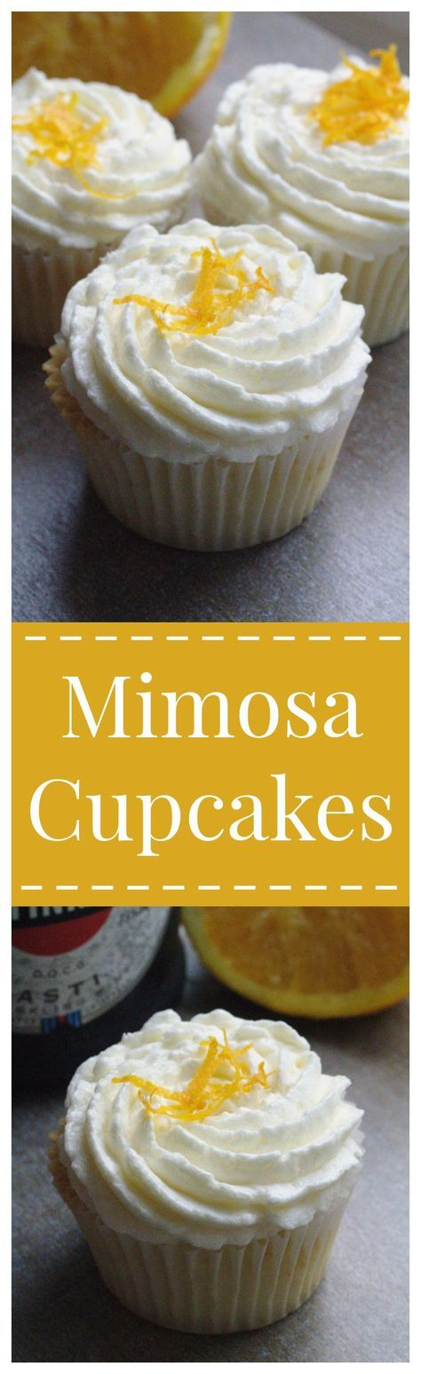 Mimosa Cupcakes – All of your favorite mimosa flavors in a cupcake! A fluffy orange champagne cupcake topped with a light buttercream frosting! Perfect for a party or dessert tonight!