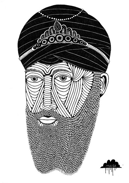 The Art of Mulga - Sikh Guru with Beard Turban and Crown Jewels by Mulga The Artist, via Flickr