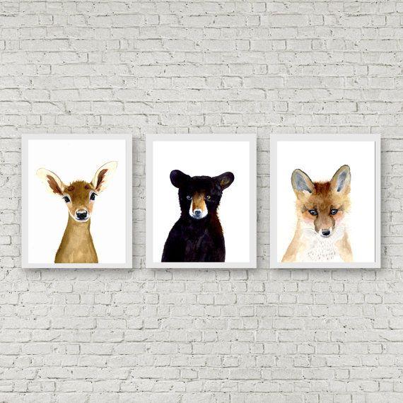 Bébés de forêt, la valeur des tirages, Animal peintures, Fox, ours, cerf, fauve…