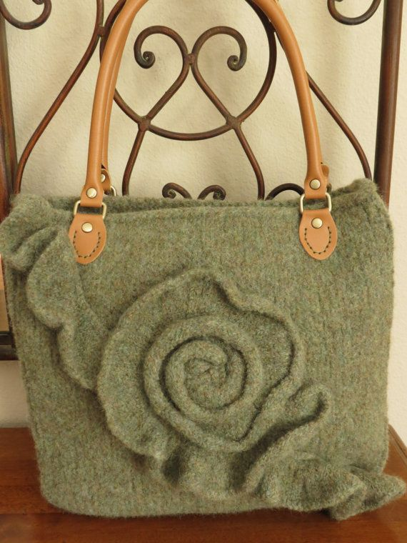 Knit And Felted Purse Pattern Bag Tote Ruffle Rose Knitting Patterns By Deborah O Leary Felt Bags