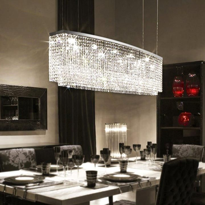 Beautiful Rectangular Crystal Chandelier Dining Room Pendant