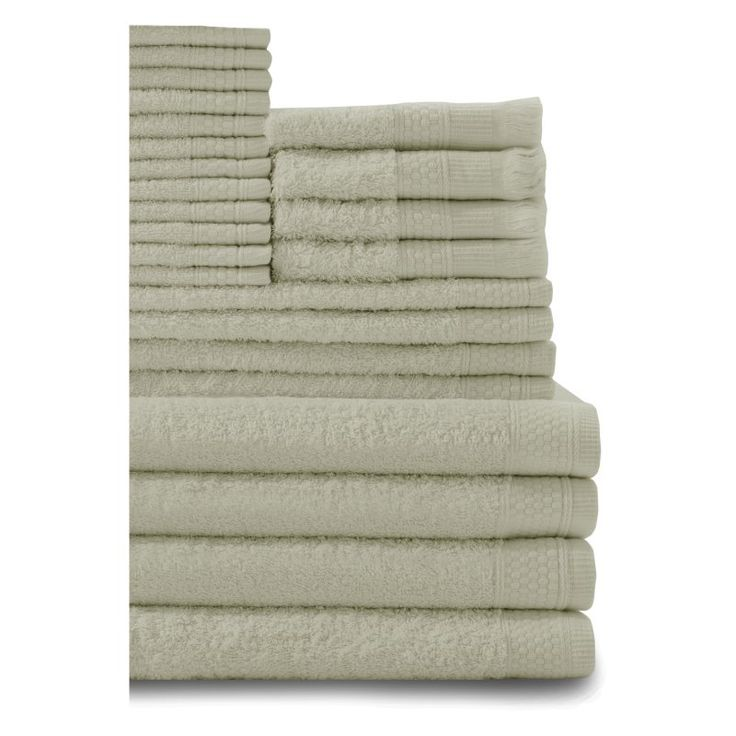 Baltic Linen Company 24 Piece Multi Count Complete Cotton Towel Set Thyme Green - 353624350