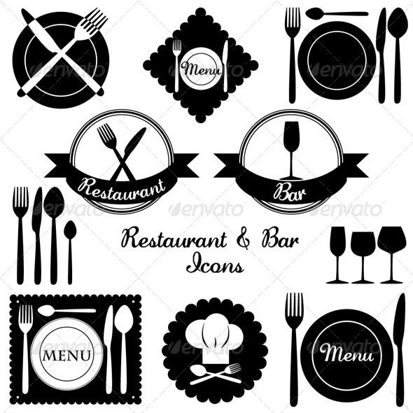 Restaurant and Bar Icons #GraphicRiver Set of vector icons suitable for menus of restaurants and bars. Vector file – size and text easily changeable. Files with outlined and non-outlined text included. Fonts used: Charlemagne Std Bold (default adobe font) LaurenScript Regular (available for free download) Created: 10June13 GraphicsFilesIncluded: VectorEPS #AIIllustrator Layered: No MinimumAdobeCSVersion: CS Tags: bar #branding #business #chefhat #dinner #drink #eat #food #foodanddrink #fork…