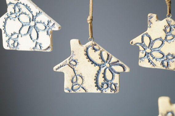 Christmas Decor Christmas Ornament Set of Four Ceramic by bemika