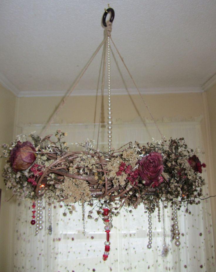 Grapevine Wreath Chandelier Romantic Victorian Look.