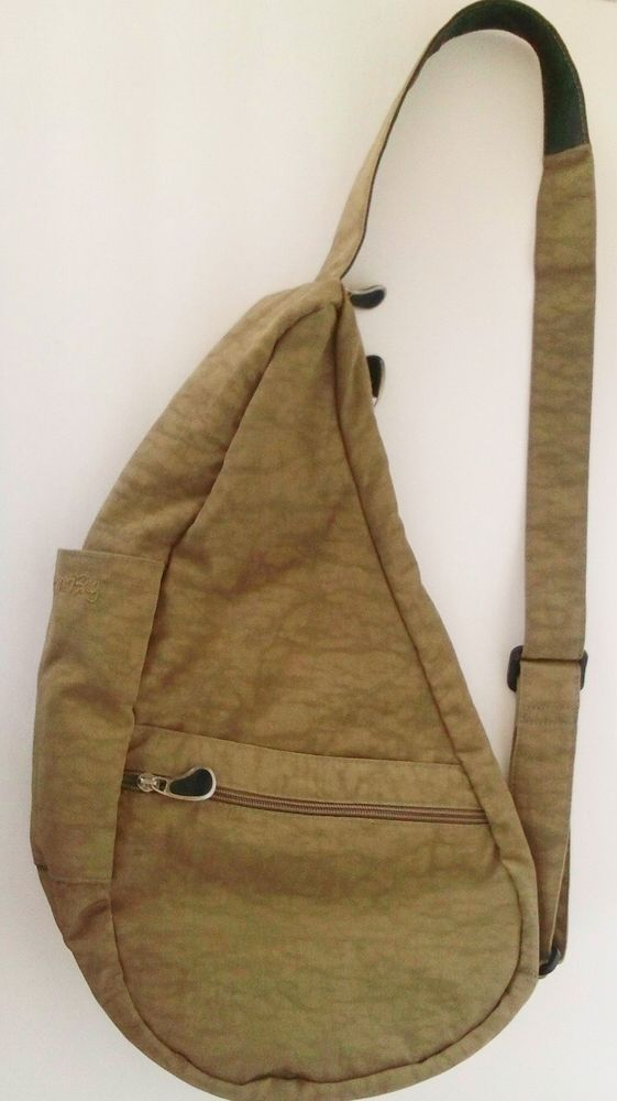 Healthy Back Ameribag USA Tan/Green Nylon Shoulder Backpack Travel Bag Unisex #AmeriBag #Backpack