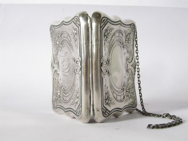 antique victorian silver purse. art nouveau floral sterling silver purse. by GinnyandHarriot on Etsy https://www.etsy.com/listing/117191086/antique-victorian-silver-purse-art