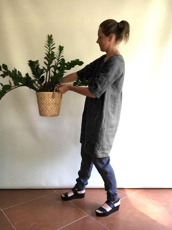 Gris túnica de lino y túnica de lino ropa suelta por linenbees