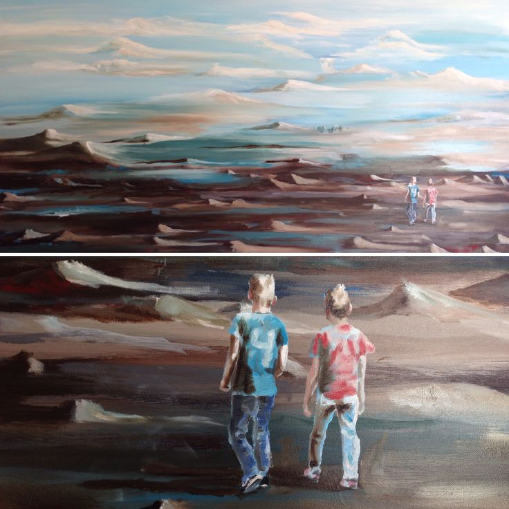 """Walking together"" Oilpainting on canvas. Made by Anne Mette Harkes. Below a section of the painting. #aharkes #art #painting www.aharkes.dk"