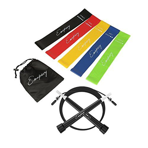 Emopavy Resistance Bands Exercise Bands Workout Bands Set of 5 with Jump Rope for Home Fitness Physical Therapy Yoga (Black)