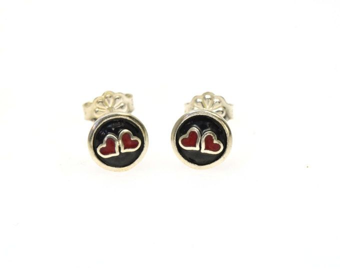 Heart Earrings, Tiny Heart, Small Stud Earrings, Teen Jewelry, Teen Girls Earrings, Post Earrings, Enamel Earrings, Enamel Jewelry
