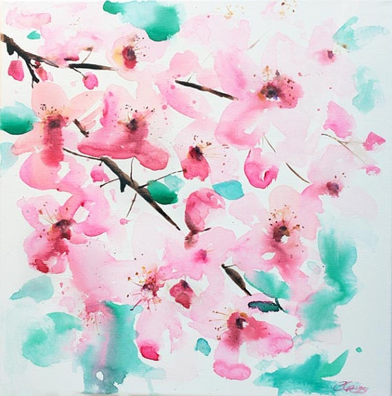 Original Cherry Blossom Watercolour
