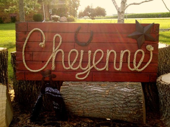 CHEYENNE 42 Country Western Rope Name Sign Shabby by RopeAndStyle