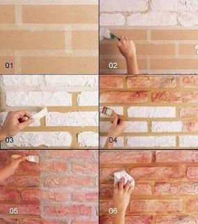 DIY fake brick wall - Not in English.
