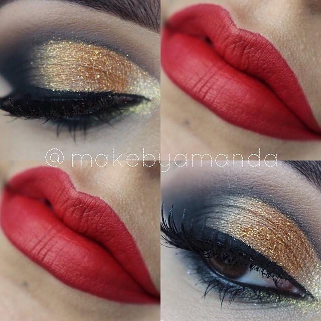 Gold Eye Red Lip, perfect look for a Friday night makebyamanda