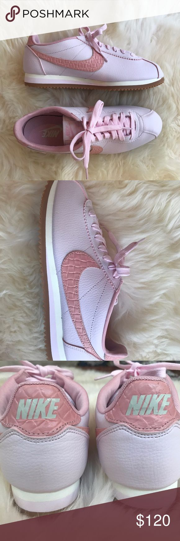 Nike Cortez Leather Lux in Pearl Pink Snail Gum These classic Nike Cortez sneakers feature fun pink and nude colors (pearl/pink/medium brown/pink snail) with a brown gum sole and a leather Nike check on both sides. Extremely comfortable with a nice padded insole for the perfect everyday sneaker!  Completely sold out in the United States, BRAND NEW, and never worn with original packaging! Nike Shoes Sneakers