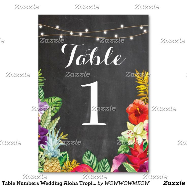Table Numbers Wedding Aloha Tropical Chalk Cards Aloha Table Numbers for your next event, change each number to suit your event size Matching items available on my store!