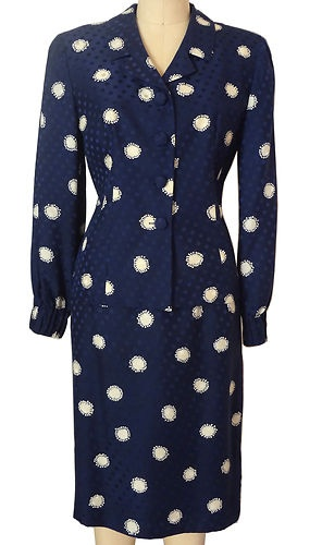 Silk Fitted Navy Suit Jacket Skirt Print Blue Cream Dot Size 8