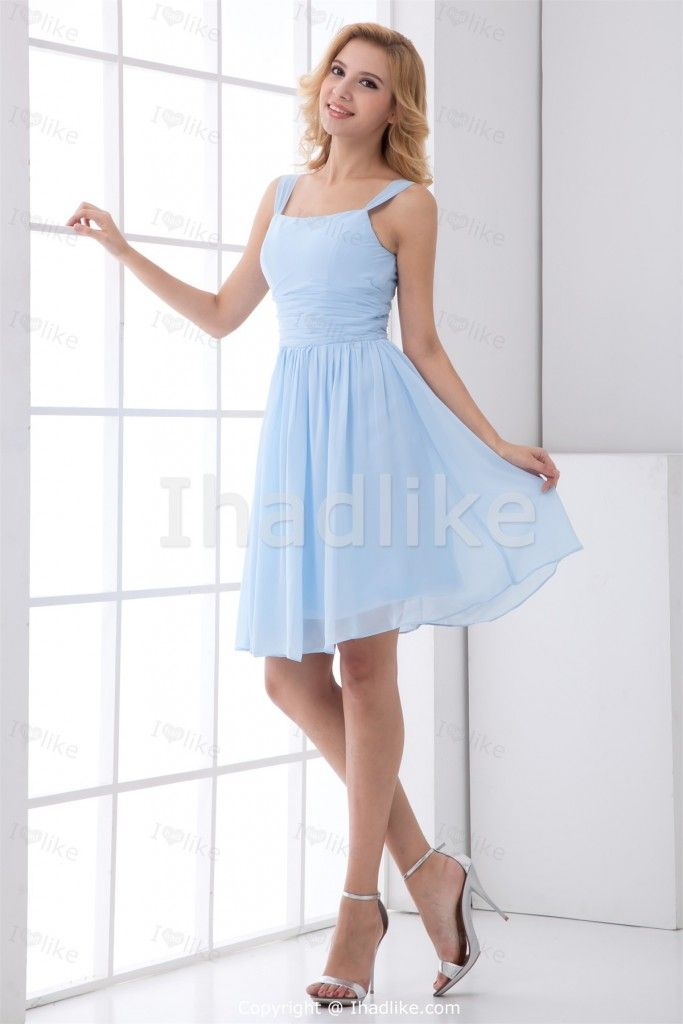Light Sky Blue Short Mini Chiffon Square Petite Bridesmaid Dresses