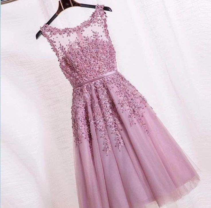 Formal T-Length Dusty Pink Beaded Lace Tulle Appliques Short Prom Party Dress