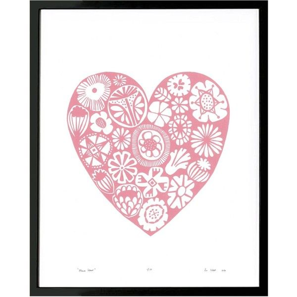 Lu West - Flower Heart Print in Rose Quartz ($68) ❤ liked on Polyvore featuring home, home decor, wall art, motivational wall art, unframed wall art, blossom wall art, flower stem and heart wall art