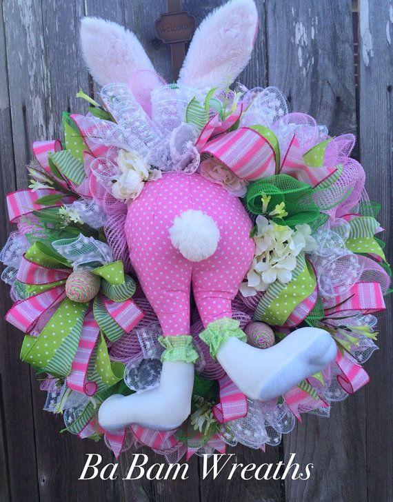 Bunny Wreath Swag Decor Cute By BaBamWreaths
