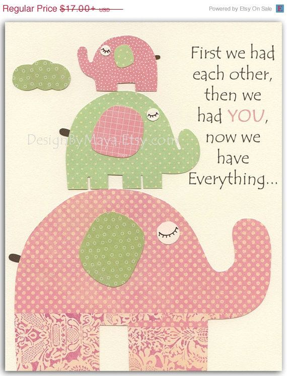 Baby Girl Nursery Wall Art Print, Baby Girl Room Decor, Baby Girl Pink and Green elephant Nursery, green Pink and Sage on Etsy, $13.60