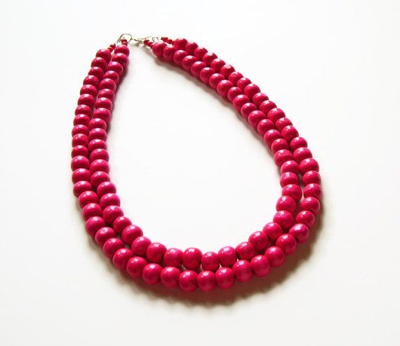 Fuchsia necklace wooden by AellaJewelry, $22.00