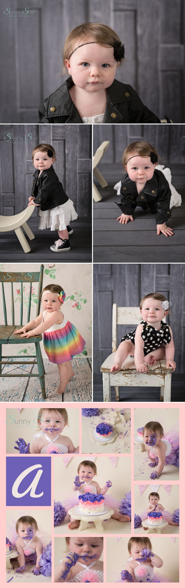 one year old baby stage session in studio with cake smash.  Winnipeg baby photography