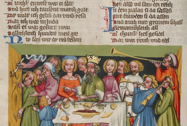 Belshazzar's Feast (detail) in Rudolph von Ems's World Chronicle, about 1400-10. Getty Mus.
