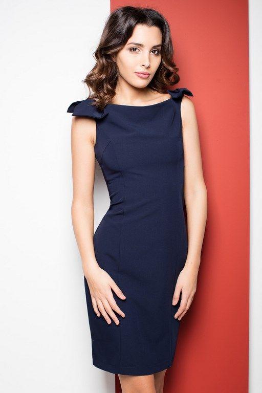 Granatowa ołówkowa sukienka bez rękawów