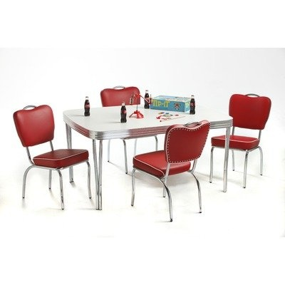 Retro Dining Set In Bright Chrome Vinyl: Omni Scarlet $1,248.00