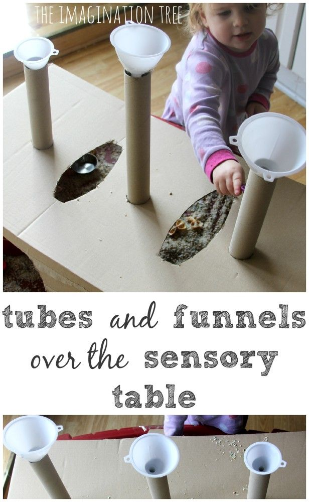 Make a box over the sensory table for tubes and funnels. Repinned by SOS Inc. Resources pinterest.com/sostherapy/.
