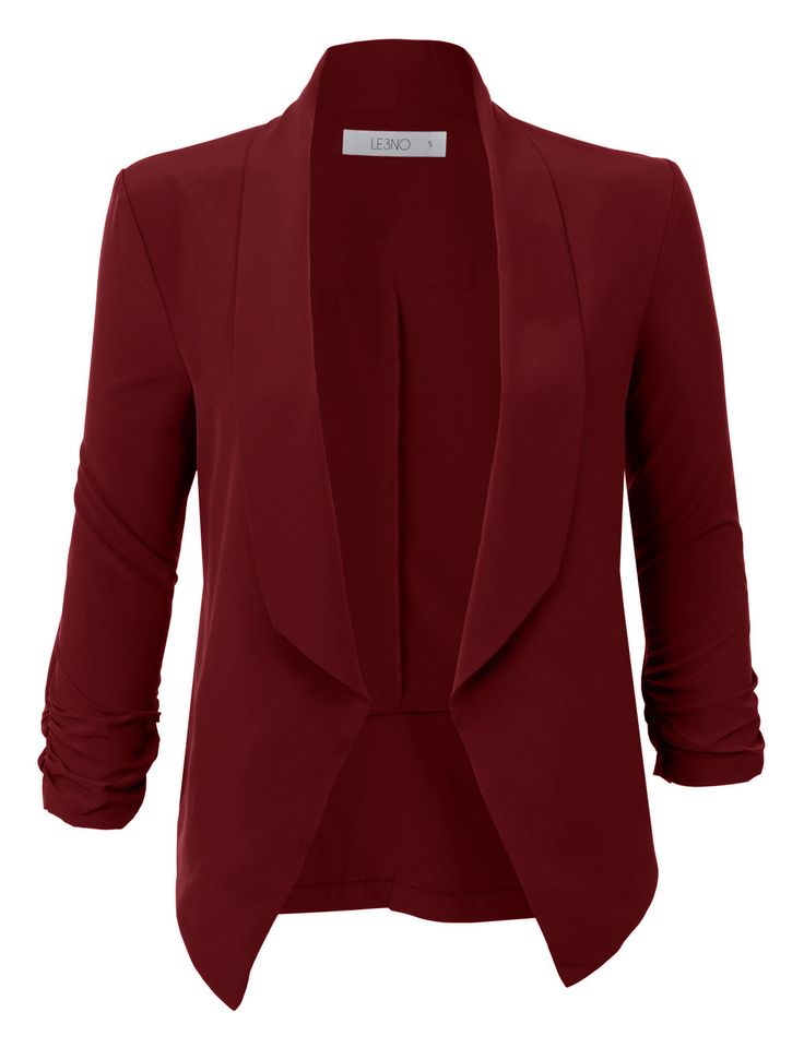 Sharpen your wardrobe with this lightweight ruched 3/4 sleeve open front blazer jacket. A softly draped open-front silhouette softens the look while the ruched sleeves adds a modern touch to this blaz