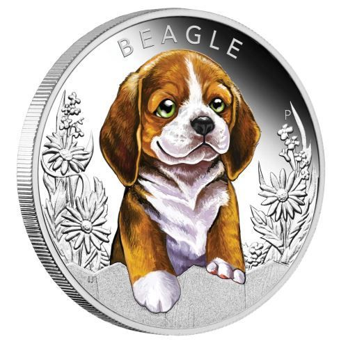 Puppies Beagle 2018 1 2oz Silver Proof Coin 14kgold Power