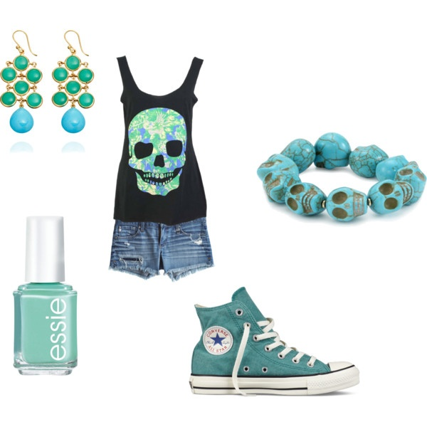 """Turquoise Skull Outfit"" by ninjakd on Polyvore"