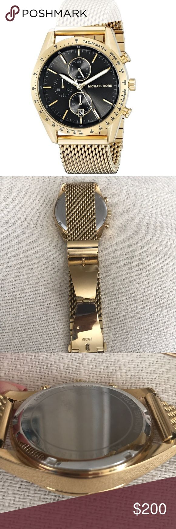 MK Men's Stainless Steel Mesh Bracelet Watch 42mm AUTHENTIC!!! Like New! Worn once!!! MICHAEL KORS ACCELERATOR ANALOG DISPLAY / QUARTZ MEN'S WATCH/ Michael Kors Men's Chronograph Accelerator Gold Tone Stainless Steel Mesh Bracelet Watch 42mm/ Top Rated Seller Michael Kors Accessories Watches