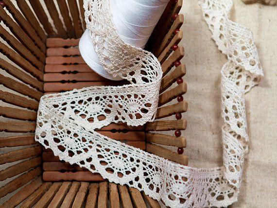 100 Yards 3.5cm or 4cm Wide Crochet Cotton Lace Trim, Unbleached Natural Cotton Lace - Natural Color Cotton Lace Bridal Wedding Cotton Lace.