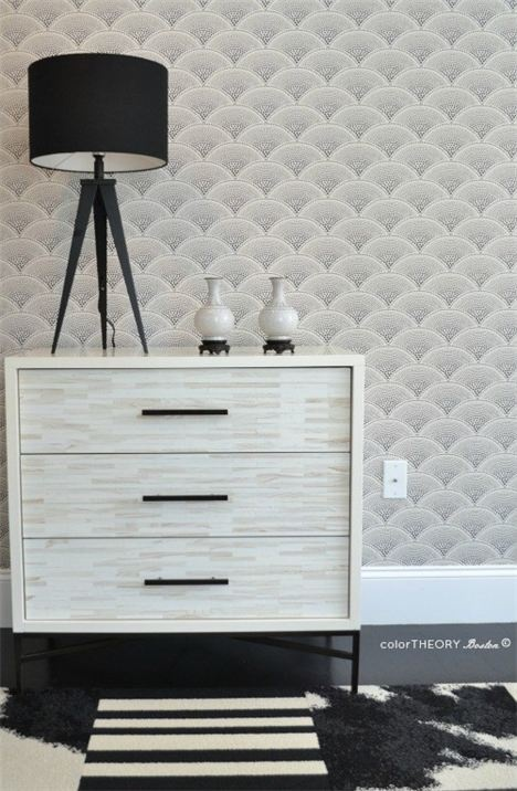 Wood Tile Dresser from West Elm with wallpaper