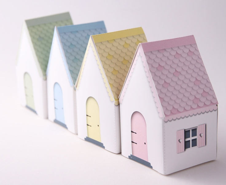 CANDY COTTAGES Printable DIY Gift Boxes, Party Favors, Paper craft. Pastel - pink, blue, green, yellow