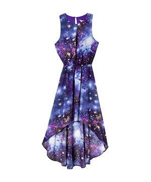 Purple Pattern (Purple) Teens Purple Cosmic Print Dip Hem Dress | 266606359 | New Look