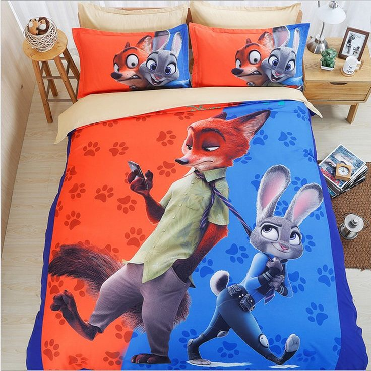 5d Cotton bedding Sets for kids Cartoon Crazy Animal City printing Children's duvet cover set bedsheet queen king size Bedlinen