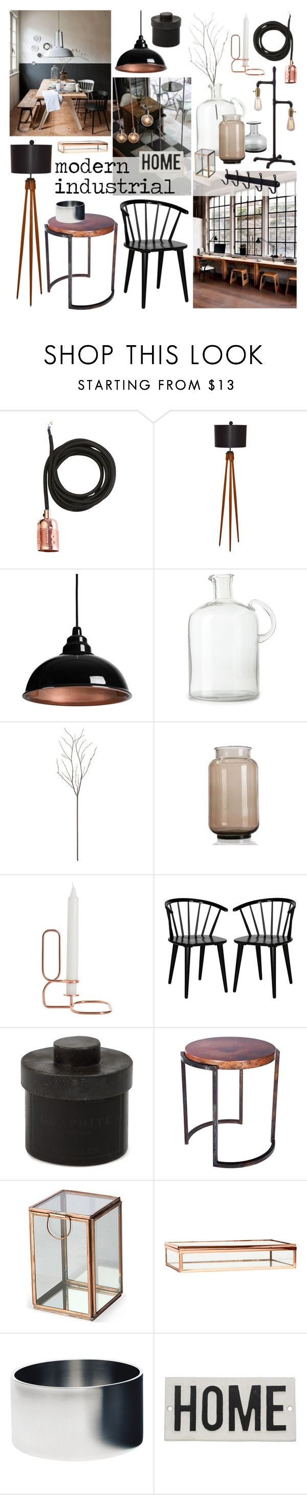 """Modern Industrial"" by ladomna on Polyvore featuring interior, interiors, interior design, home, home decor, interior decorating, Frama, Crate and Barrel, HAY and Dot & Bo"