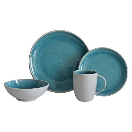 Portel Teal Dinnerware Set 16-pc. Stoneware - Threshold™ : Target