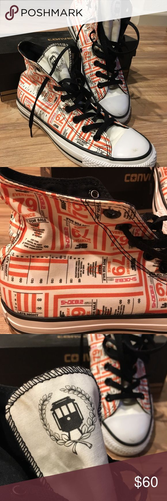 *RARE* Unisex Collectors Converse SF Muni City Circa 2012. Collaboration with ShoeBiz and Alan Gonzales. Nod to SF Muni (public transit). Bus pass design. Worn twice. Slight marks on toe (pictured). Size 7 men, size 9 women. Converse Shoes Sneakers