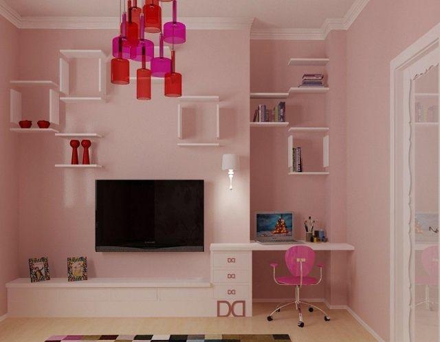 Stunning wandgestaltung jugendzimmer m dchen rosa wandfarbe wei e schweberegale