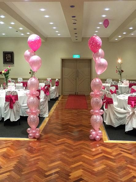 Column arrangement with balloons in parties provides colorful and appealing decoration and gives a great impression.