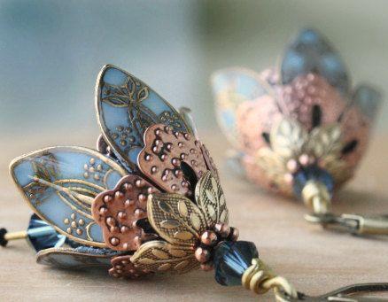 SALE Flower earrings Dangle Earrings Romantic Earrings by AmberSky