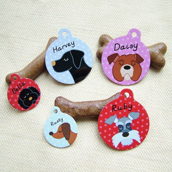 Personalised Illustrated Dog Tags for Pets LARGE by HoobynooWorld