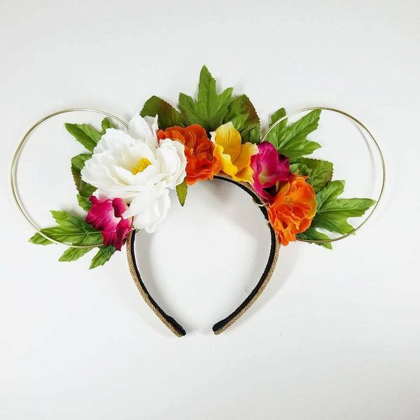 Moana inspired Mickey Ears/ Floral headband ($22) ❤ liked on Polyvore featuring accessories, hair accessories, head wrap headband, floral hair accessories, hair band accessories, hair band headband and floral headwrap